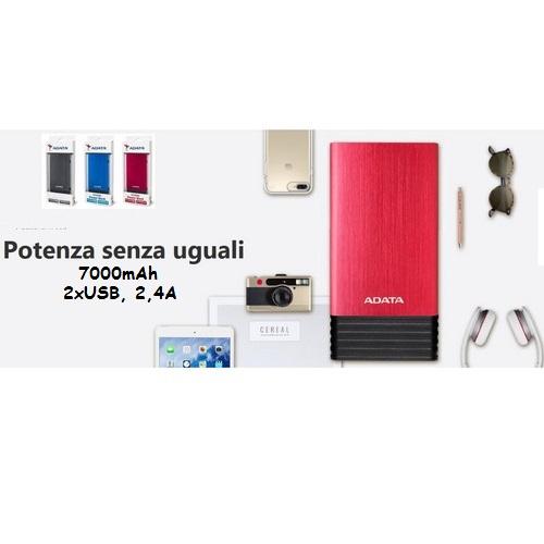ADATA POWERBANK AX7000 RED 7000mAh 2xUSB, 2,4A AX7000-5V-RDC